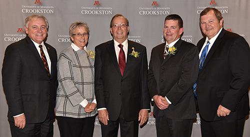 Chancellor Fred Wood; Mary Jo Eastes 1979; Dick Hebert 1968; and Keith McNamara, president, Sugarbeet Research and Education Board; and Albert Sims, director of operations, Northwest Research and Outreach Center