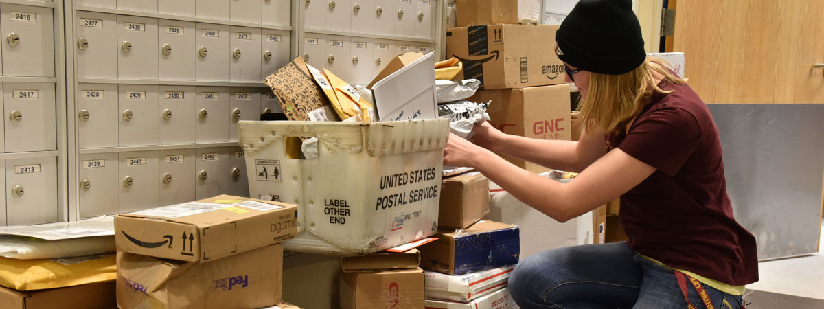 Post Office student worker stacking packages