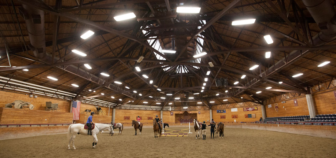 the interior of the UTOC horse riding arena