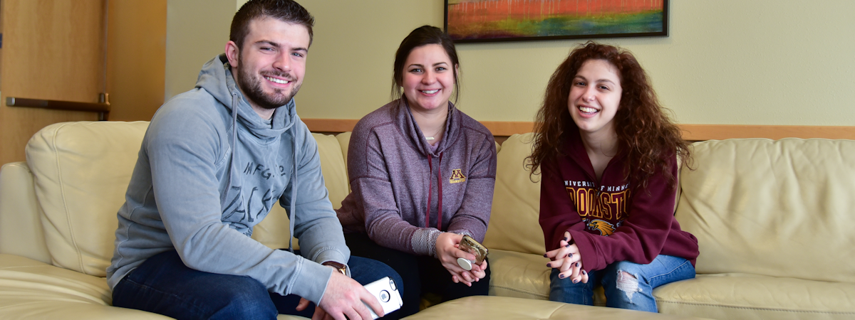 students in one of the many residence hall lounges