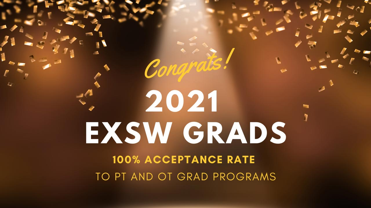 Congrats 2021 Exercise Science and Wellness Grads for 100% Acceptance Rate to Physical Therapy and Occupational Therapy Graduate Programs