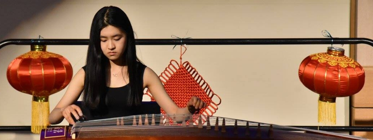 Student playing instrument