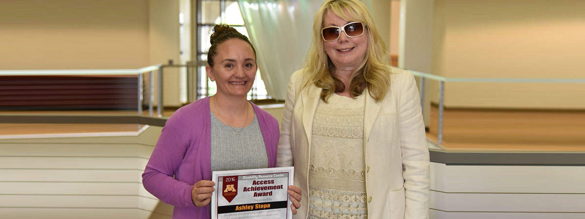 Ashley Stopa, award recipient and Gail Myers, presenter.