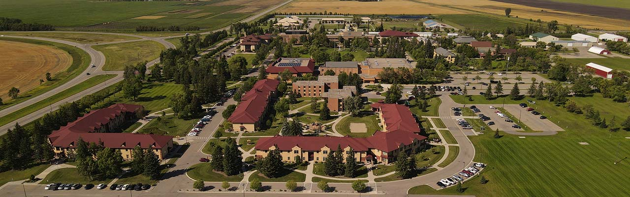 Aerial photo of the UMN Crookston Campus. View is from the south, looking north.