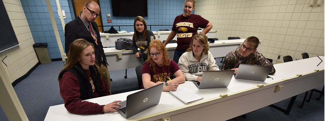 Agriculture Education students working on laptops in a classroom.