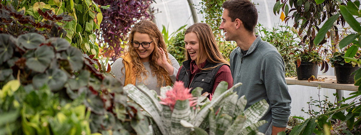 Three Ag Education students laughing and smiling in the UMN Crookston greenhouse learning about plants.