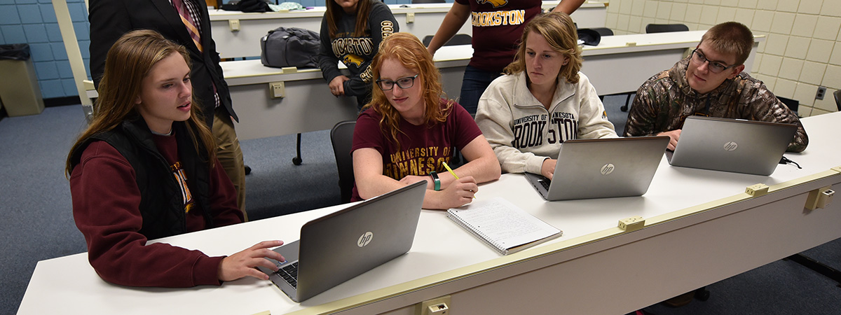 UMN Crookston Agricultural Education Students working on laptops in the classroom