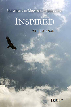 Inspired Art Journal - Issue 7 Cover showing an eagle flying among the clouds on a partly sunny day.