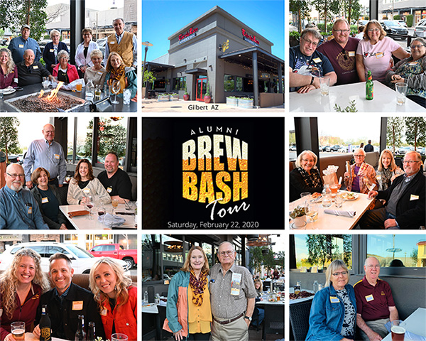 A collage of 8 pictures from the Brew Bash at the Thirsty Lion in Arizona in 2020.