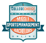 collegechoice.net award badge for most affordable online bachelors degrees in sports management