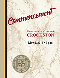 University of Minnesota Crookston Commencement Program Cover - click to open PDF version.