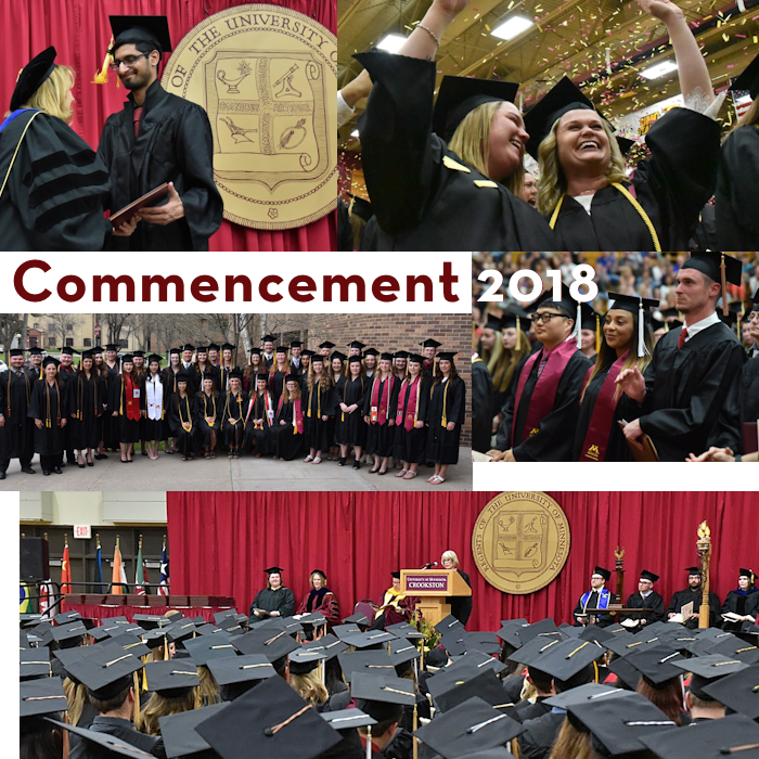 a collage of images from Commencement 2018