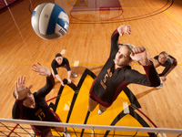 A game of women's volleyball