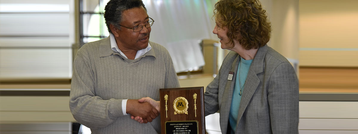 2016 Distinguished Faculty Service Award given to Alvin Killough, presented by Barbara Keinath