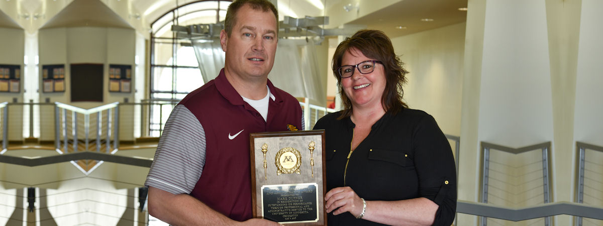 2017 Distinguished Professional and Administrative Award was Mark Dufner, presented by Stephanie Helgeson