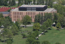 Dowell Hall from an aerial view