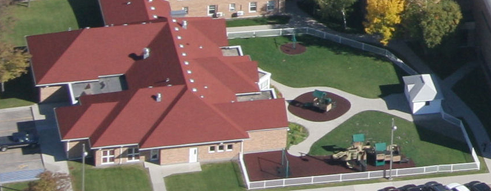 An aerial photo of the Early Childhood Development Center.