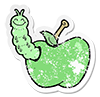 green apple with green worm icon