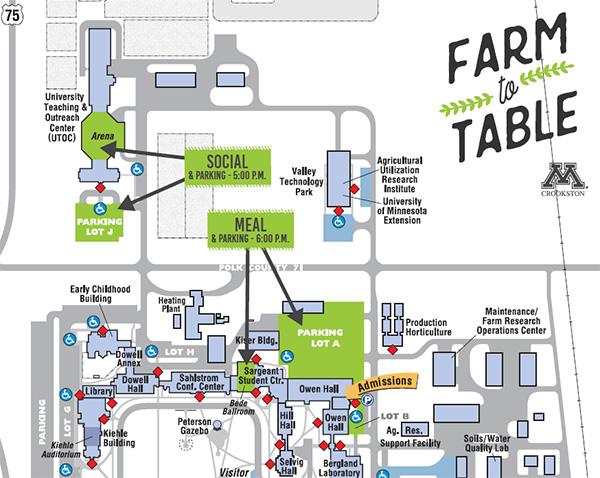 Farm to Table Campus Map - Social & Parking beginning at 5:00 pm at UTOC (north end of campus) and Meal/Program at 6:00 pm in Bede Ballroom, Sargeant Student Center. Parking in Lot A.