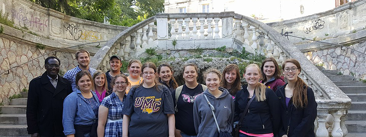 Group of UMC students studying in France in 2016.