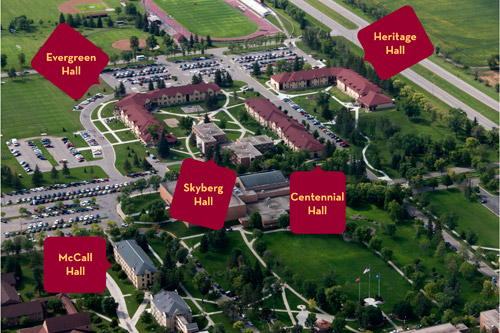 Overhead map of UMC's Residential Halls
