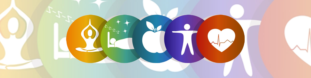 Decorative image showing yoga, sleep, apple, human and heart beat.