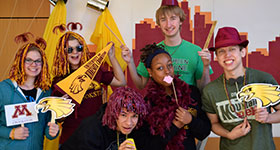 Students at the Homecoming Photo Booth