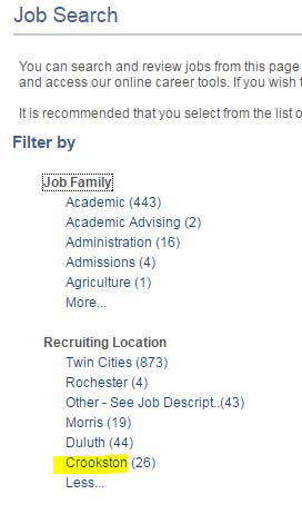 Screenshot of the Filters section, highlighting Crookston under Recruiting Location