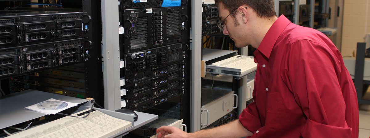 Student working on a servers