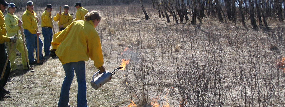 A student starting a control fire on a field