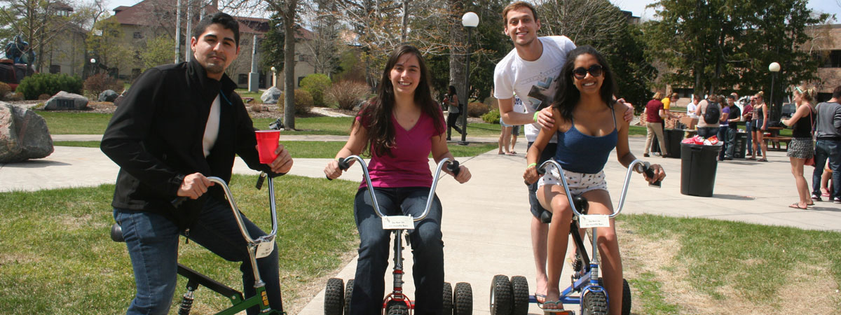 Students riding bikes