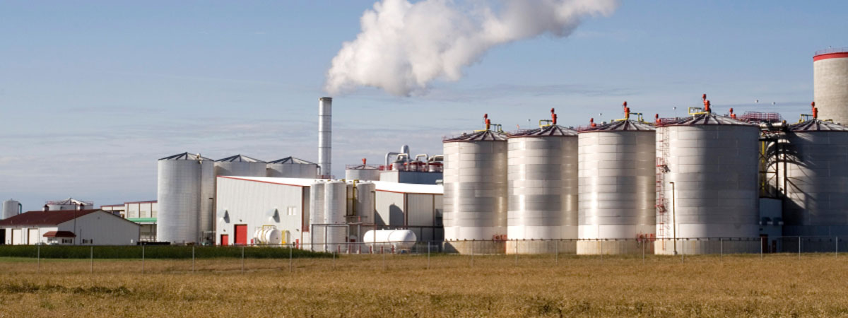 A photo of a rural fertilizer plant.
