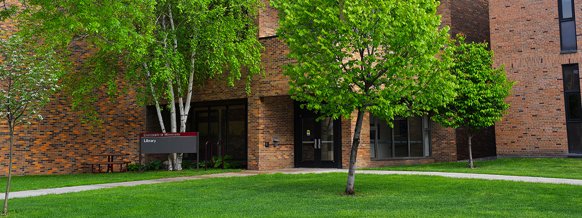 Summer time view of the entrance of the UMC Library.