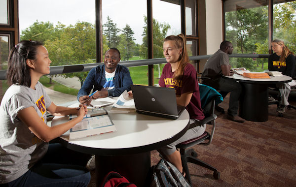 students studying on the second floor of the library