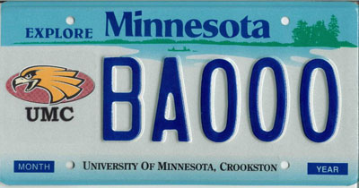 UMC Personalized Minnesota License Plate Example