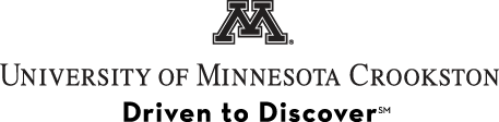 University of Minnesota Crookston M with Wordmark with Driven to Discover Black and White Example