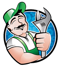 Cartoon image of a maintenance man holding a wrench.