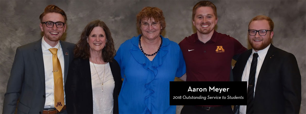 Aaron Meyer, 2018 Outstanding Service to Students Award recipient