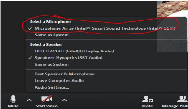 "Screenshot of Zoom options - pick ""Microphone Array (Intel Smart Sound Technology)"""