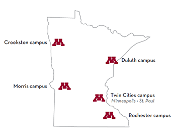 map of Minnesota with locations of U of M campuses noted