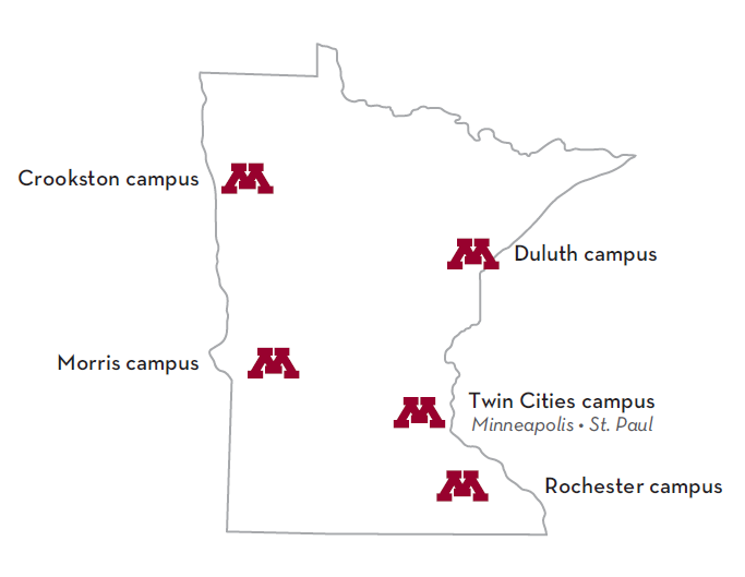 University of Minnesota System Campus Map Crookston campus (northwest Minnesota), Duluth campus (northeastern Minnesota), Morris Campus (west-central Minnesota), Twin Cities Campus- Minneapolis and St. Paul (east central Minnesota), Rochester (southern)