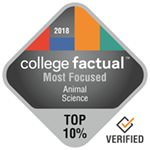College Factual Top 10% for Most Focused in Animal Science Award Badge