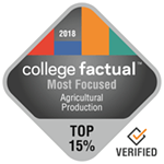 College Factual Top 15% for Most Focused in Agricultural Production Award Badge