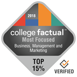 College Factual Top 15% for Most Focused in Business Management & Marketing Award Badge