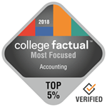 College Factual Top 5% for Most Focused in Accounting Award Badge