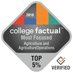 College Factual Top 5% for Most Focused in Agriculture and Agricultural Operations Award Badge