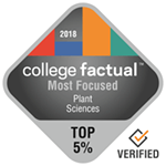 College Factual Top 5% for Most Focused in Plant Sciences Award Badge