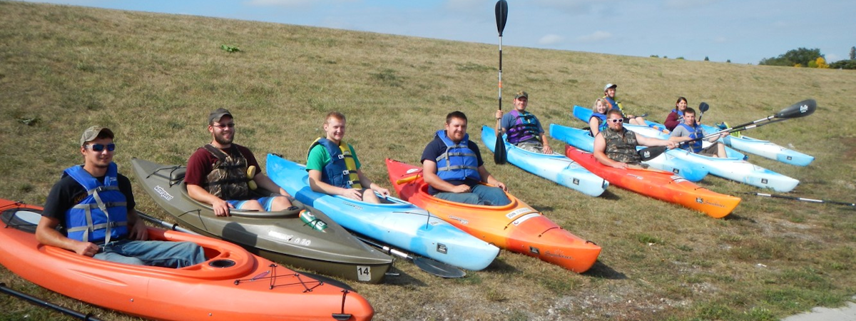 students in the NatR Club in kayaks