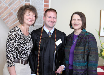 Nick Huso pictured with Michelle Christopherson (Director of the  Center for Adult Learning) and Sharon Stewart (Associate Professor)