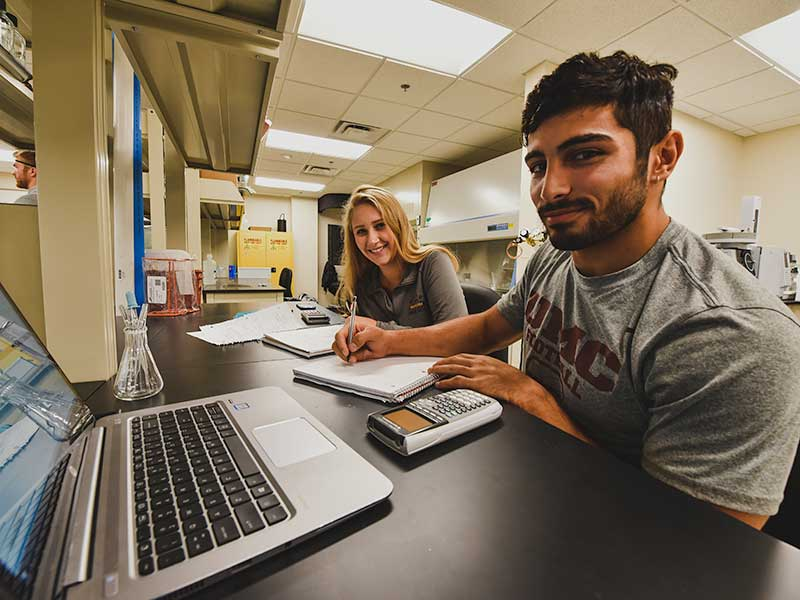 Two students working in the research lab